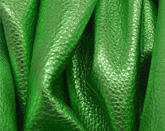 "Metallic ""Cash is King"" Green ""Vegas"" Leather Cow Hide 4"" x 6"" Pre-Cut  2 1/2-3 ounces TA-55693 (Sec. 8,Shelf 6,D,Box 2)"