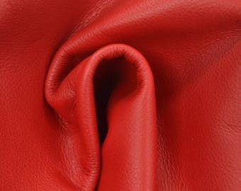 "Classy Candy Apple Red ""Signature"" Leather Cow Hide 12"" x 12"" Pre-cut 2-3 oz flat grain TA-58531 (Sec. 8,Shelf 4,D)"