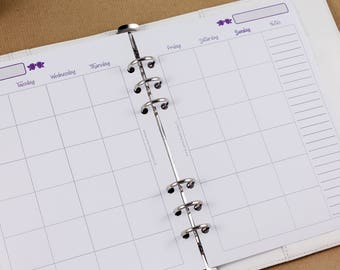 Undated monthly inserts, A5 planner inserts, inserts month on 2 pages, printed inserts