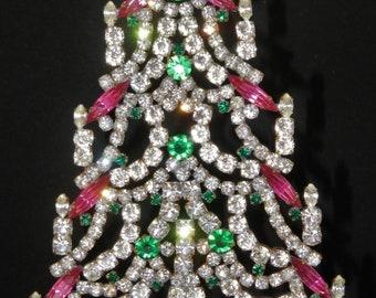 Rhinestone Vintage Christmas Tree Czechoslovakia free standing