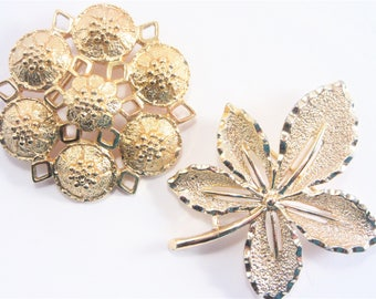 Two Vintage Sarah Coventry Brooch Pins Gold Tone
