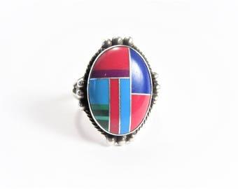 Vintage Southwestern Zuni Style Sterling Inlay Ring Size 6