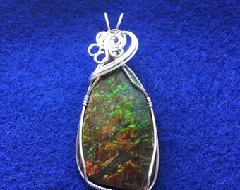 Ammolite Pendant, Sterling Silver Pendant, Wire Wrapped Ammolite, Ammolite Jewelry, Wire Wrapped Pendant
