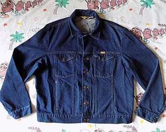Vintage 80's Rustler indigo denim Jean Jacket, size XL trucker jacket Dead Stock