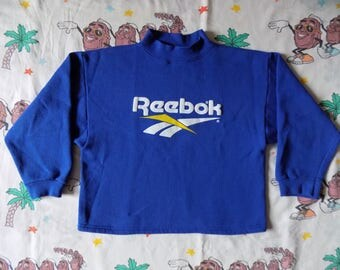 Vintage 90's Reebok Logo cropped Pullover Sweatshirt, size Medium puffy graphic USA made