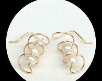 Corkscrew Earrings with white freshwater pearls