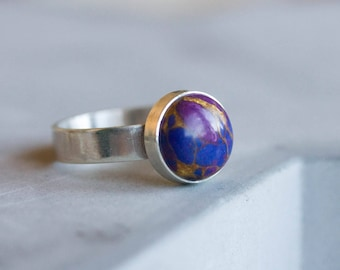 Purple - Sterling silver ring with purple turquoise, solitaire ring, natural stone ring