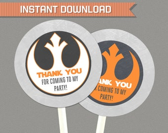 Star Wars Favor Tags (Rebel Alliance) - Star Wars Birthday - Star Wars Party - INSTANT DOWNLOAD - Edit and print at home with Adobe Reader