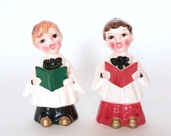 Pair of Kreiss Christmas Caroler Figurines circa 1956 - Vintage California Pottery Japanese Import