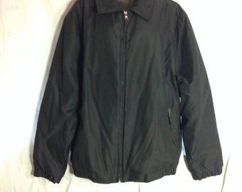 V013 Hagger bomber mens jacket , size XXL, black, polyester nylon blend , inside breast pockets , elastic around waist band