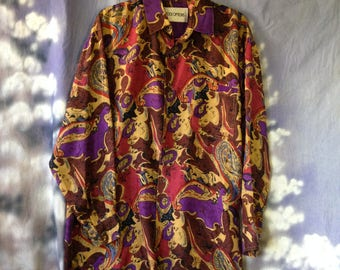 V101 Stock Options long sleeve silk button down shirt size Large print