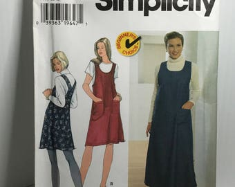 d263 Simplicity 7425, sewing pattern, womens jumper, cross back, size 8-12  uncut