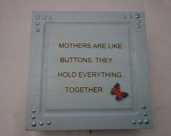 Mother text design decoupage wooden box, for jewellery, keepsakes, or treasured items.
