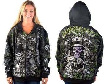 small gangland® urban streetwear collection zip up skull hoodie club chaos