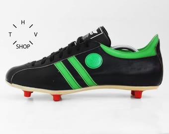 NOS Vintage Lico soccer boots / Leather football shoes / Black Green oldschool deadstock cleats / made in West Germany 70s 80s