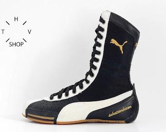 NOS Puma Schattenboxen hi tops boots / OG Deadstock Trainers Sneakers / Black White vintage kicks / Boxing Wrestling Combats MMA shoes