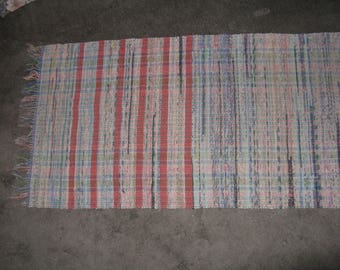 Long hand made woven rag rug colorful