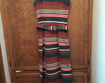 Toni Todd Sleveless  Dress Stripe Long Dress