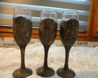 Wine glasses, hand decorated, set of 3