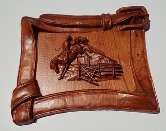 Horse Wood Carving, Western Rodeo Decor, Wood Carving, Wood Wall Art, Cowboy Belt, Wooden Frame, Carved Wall Frame, Western Wall Decor, Art