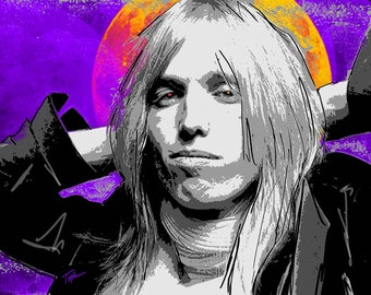 "Limited Edition Print.  "" Tom Petty "" Digital painting, Wall art, Painting. Art print"