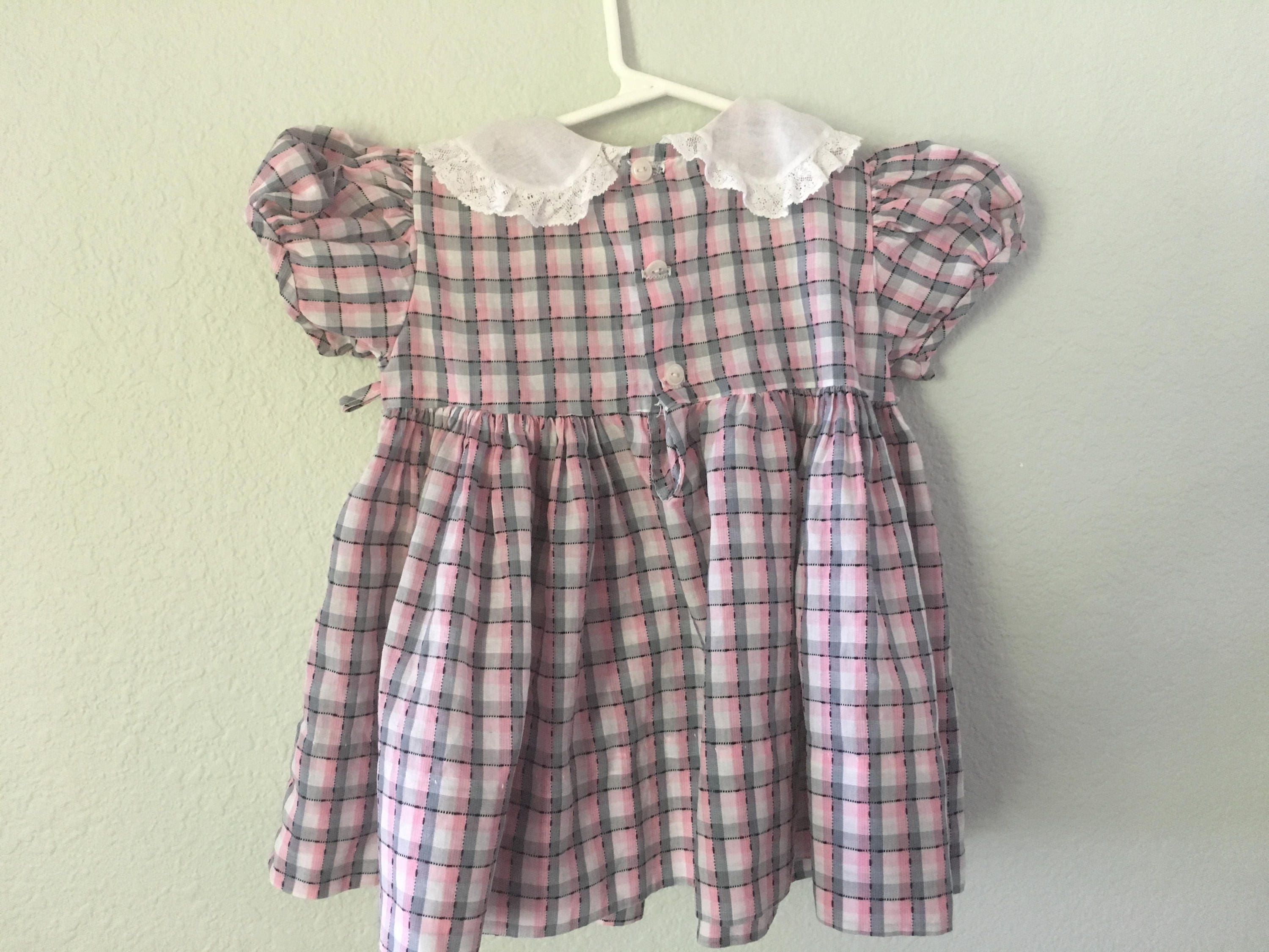 Vintage toddler dress 50s baby dress pink and gray dress Peter