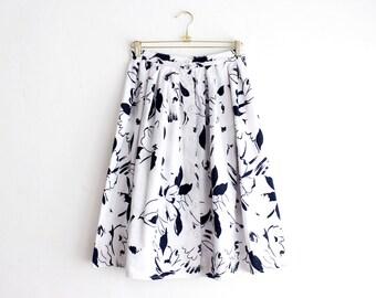 Vintage Midi Skirt, Black and White Floral Skirt, High Waist Full Skirt, Buttoned Pleated Skirt, Summer Cotton Skirt Size Medium