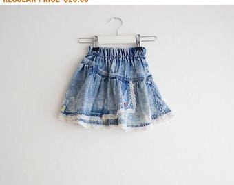 Vintage Baby Girl Denim Ruffle Skirt/ 80's Acid Wash Patched Jean Skirt 18-24 months old