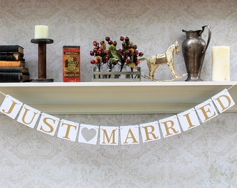 JUST MARRIED SIGNS, Gold and Silver wedding colors, Wedding photos, Get away Car Signs