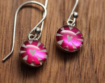 Tiny Metallic Fuchsia heart earrings made from recycled Starbucks gift cards. sterling silver and resin.