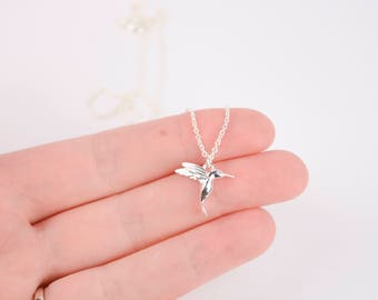 Hummingbird Necklace, Sterling Silver Hummingbird Necklace, Silver Hummingbird Necklace