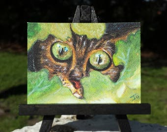 Mini Cat Print, Giclee Print, Kitty Hiding in Bushes, from Original Art, ACEO
