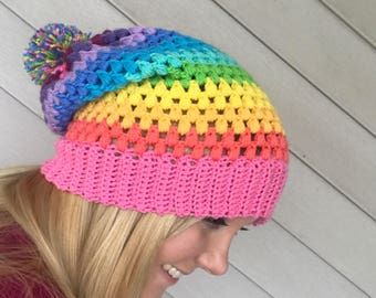 Rainbow puff stitch hat, slouch hat