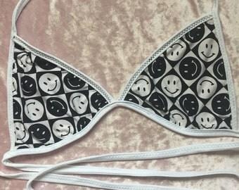 Black and white smiley face bralette