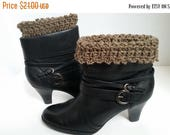 ON SALE Boot Cuffs Crocheted Brown, Handmade Boot Socks, Leg Warmers