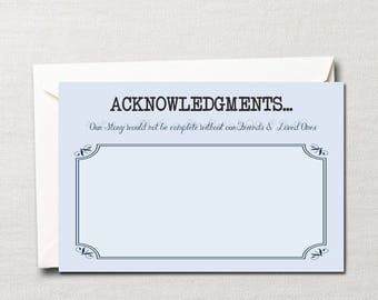 Literary Acknowledgments ~Thank You Note Card ~ Custom DIY Printable~ Choice of Color