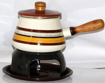 Striped Enamel Fondue Pot with Stand