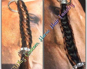Two tone horse hair keychain