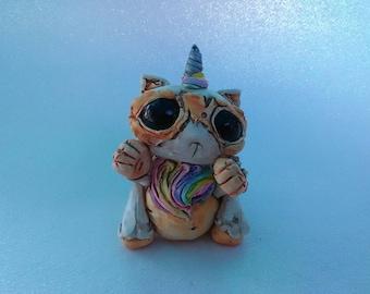 Cute Unicorn Kitten Creature sculpture