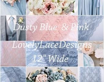 "Dusty BLue/Blush Pink/ Lace Table Runner/12ft-20ft long x 12""wide/Wedding Decor/Weddings/Beach weddings"
