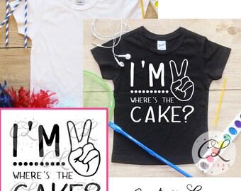 I'm This Many Birthday Boy Shirt Bodysuit / 2nd Birthday T-Shirt 2 Birthday Two Year Old Outfit Boy Second Toddler Party Tee 093
