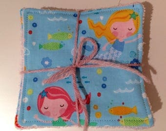 Set of 10 eco bamboo and cotton family cloth wipes - washable / reusable with mermaids