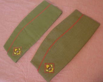 Vintage Boy Scout Lot of 2 Garrison Cap Explorer Scout BSA Sz Large Green Hat Red Piping Embroidered Insignia Sanforized Cotton Wool EC BIN