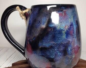 14 oz Pottery mug #103 tie dye purple cobalt blue funky hand made wheel thrown ceramic cup