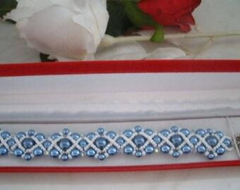 handmade bracelet pearls and swarovski bicones