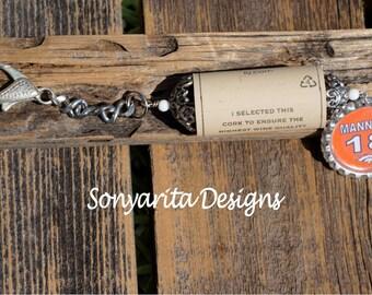 Handmade Wine Cork Keychain Broncos Manning Bottlecap Charm by Sonyarita Designs