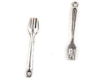 set of 5 silver plated fork charms