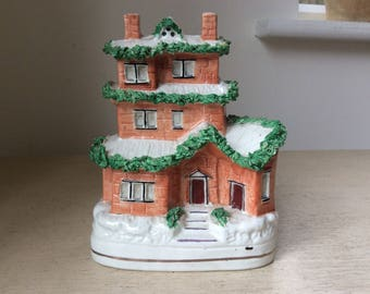 Victorian Staffordshire Pottery Three-storey House Money Box