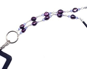 Freshwater Pearl Lanyard, Purple Crystal Lanyard, ID Badge Holder, Teacher Lanyard, Beaded Badge Necklace, ID Card Holder, Corporate Gift