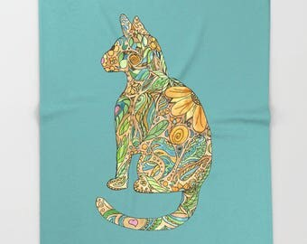 Calico Cat on blue Blanket  -  kitty, floral,   blanket throw  - gold, blue, floral- beautiful  decor,  cozy gift for cat lover